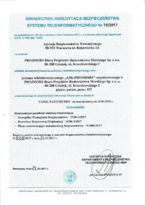 Świadectwo akredytacji bezpieczeństwa systemu teleinformatycznego Tajne NATO SECRET - Projmors